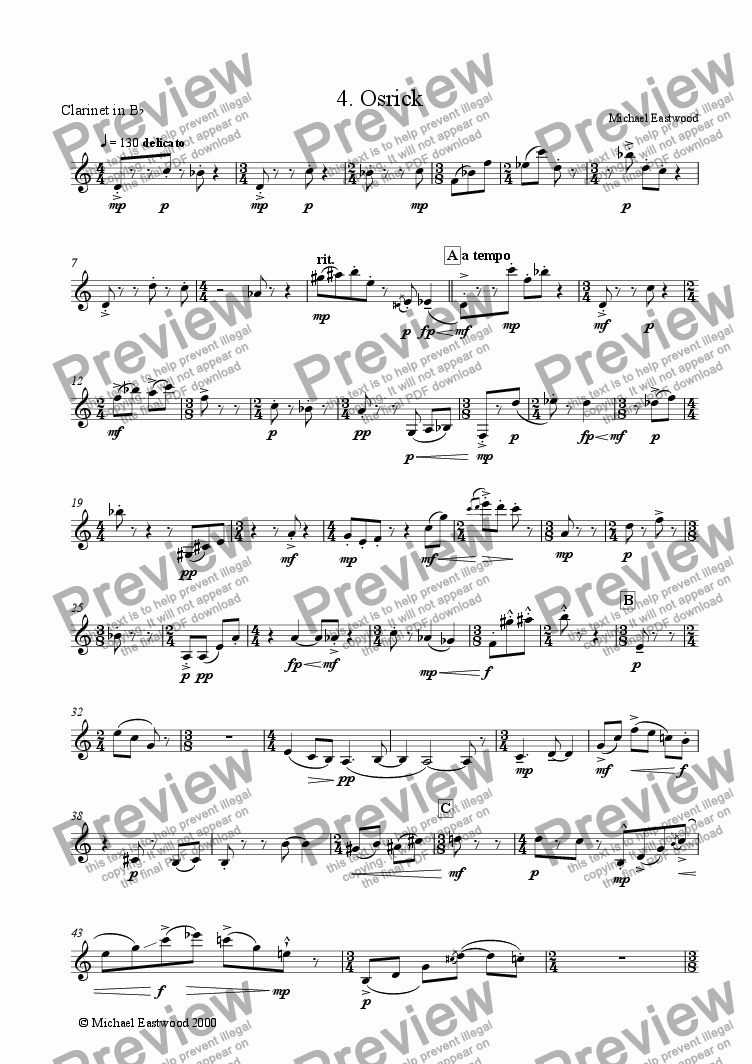 page one of the Clarinet part from Osrick