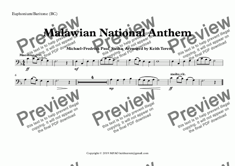page one of the Euphonium/Baritone (BC) part from Malawian National Anthem (Mulungu dalitsa Malawi -  Oh God Bless Our Land Of Malawi)  for Concert Band