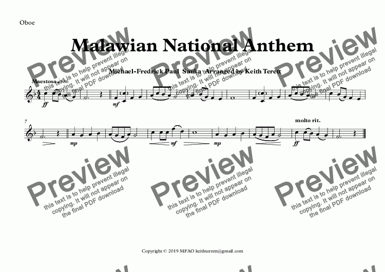 page one of the Oboe part from Malawian National Anthem (Mulungu dalitsa Malawi -  Oh God Bless Our Land Of Malawi)  for Concert Band