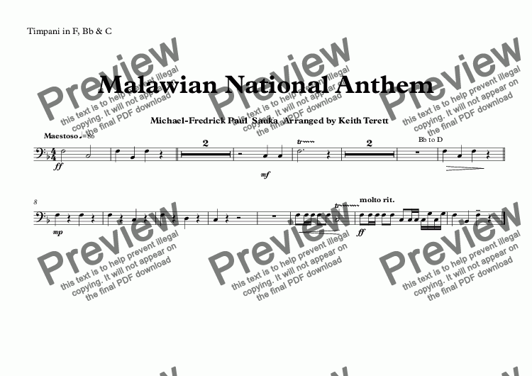 page one of the Timpani in F, Bb & C part from Malawian National Anthem (Mulungu dalitsa Malawi -  Oh God Bless Our Land Of Malawi)  for Concert Band
