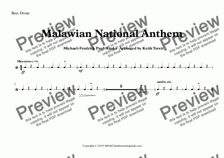 page one of the Bass Drum part from Malawian National Anthem (Mulungu dalitsa Malawi -  Oh God Bless Our Land Of Malawi)  for Concert Band