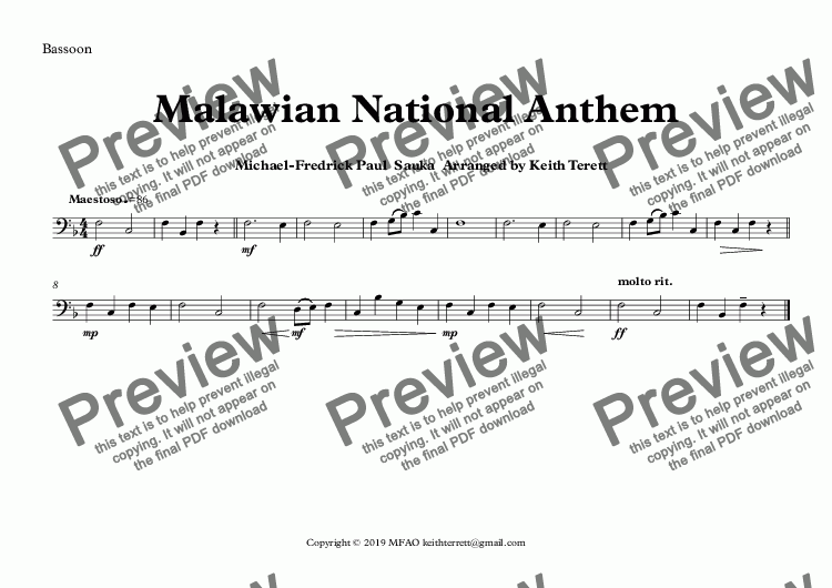 page one of the Bassoon part from Malawian National Anthem (Mulungu dalitsa Malawi -  Oh God Bless Our Land Of Malawi)  for Concert Band