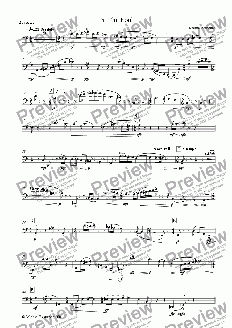 page one of the Bassoon part from The Fool