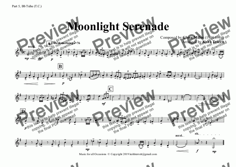 page one of the Part 5, Bb Tuba (T.C.) part from Moonlight Serenade for Flexible Band (Grade 4 ish)