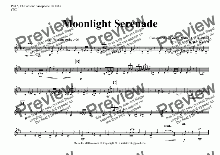 page one of the Part 5, Eb Baritone Saxophone Eb Tuba (TC) part from Moonlight Serenade for Flexible Band (Grade 4 ish)