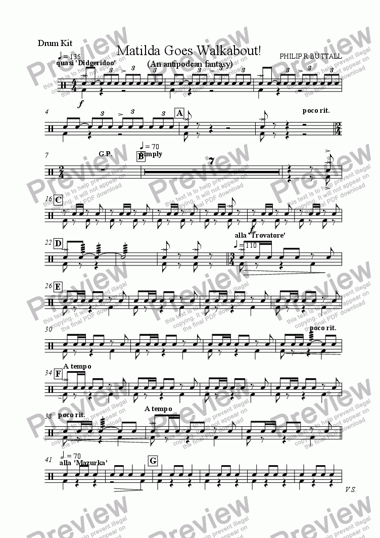 page one of the Drum Kit part from Matilda Goes Walkabout! (Wind Band)