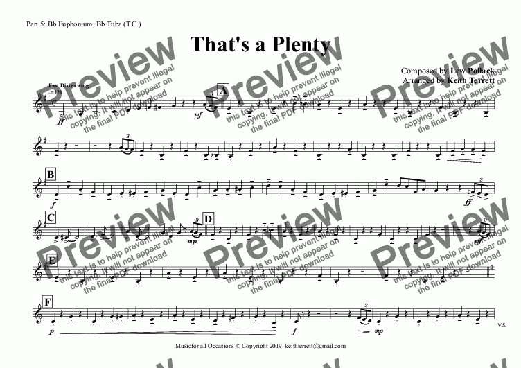 page one of the Part 5: Bb Euphonium, Bb Tuba (T.C.) part from That's a Plenty for Flexible Band (Grade 4 ish)