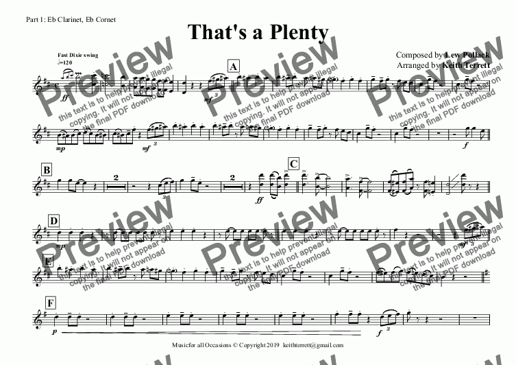 page one of the Part 1: Eb Clarinet, Eb Cornet part from That's a Plenty for Flexible Band (Grade 4 ish)