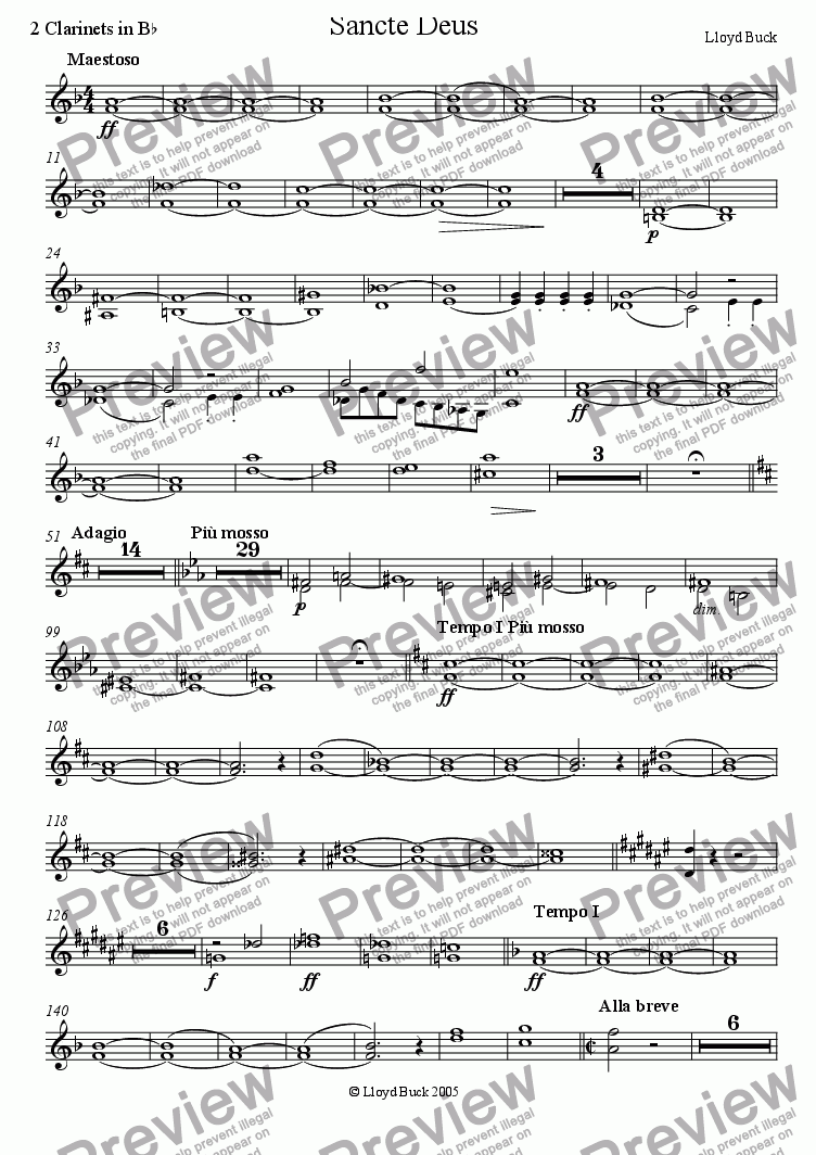 page one of the Clarinets part from Sancte Deus