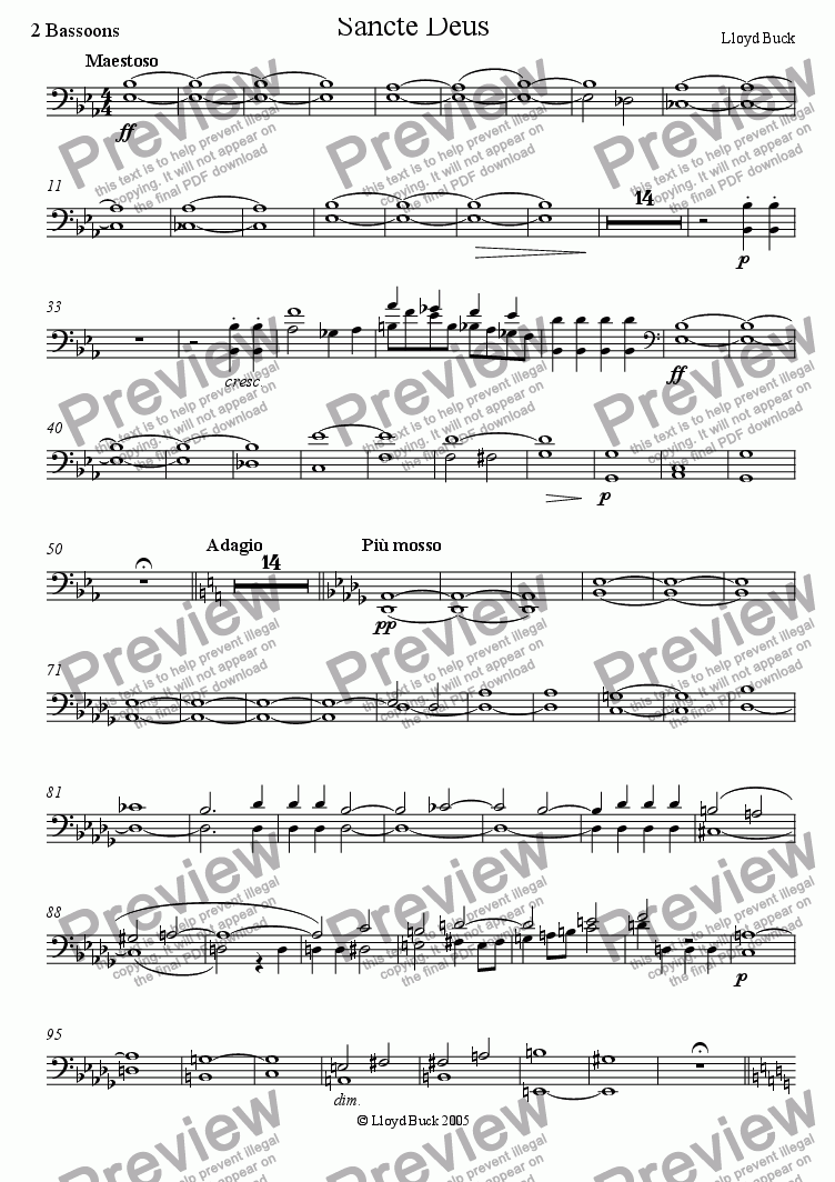 page one of the Bassoons part from Sancte Deus
