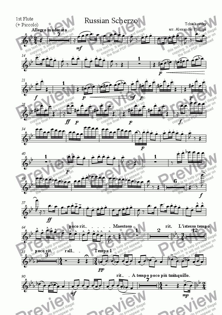 page one of the 1st Flute/Piccolo part from Russian Scherzo