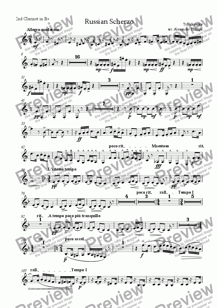 page one of the 2nd Clarinet in Bb part from Russian Scherzo