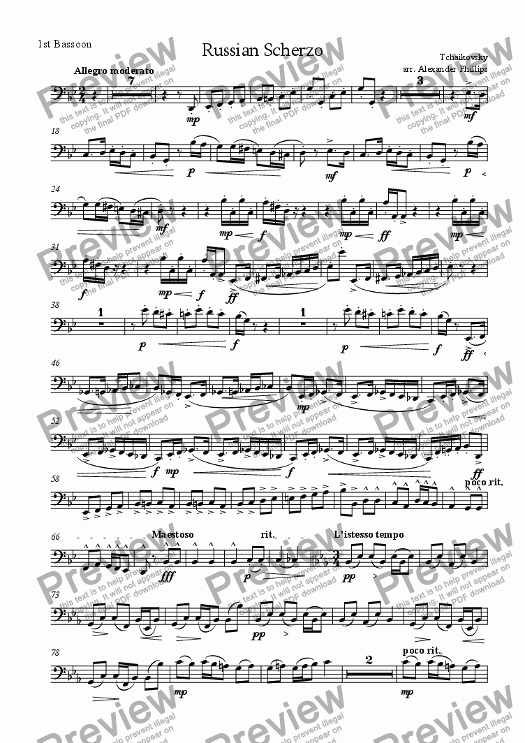 page one of the 1st Bassoon part from Russian Scherzo