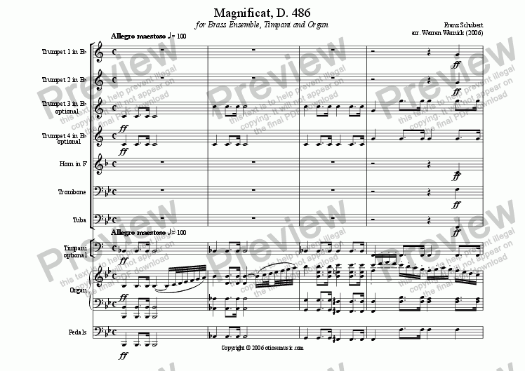 page one of the schubert Magnificat, D 486 - Organ part from Magnificat, D 486 for Brass Ensemble and Organ