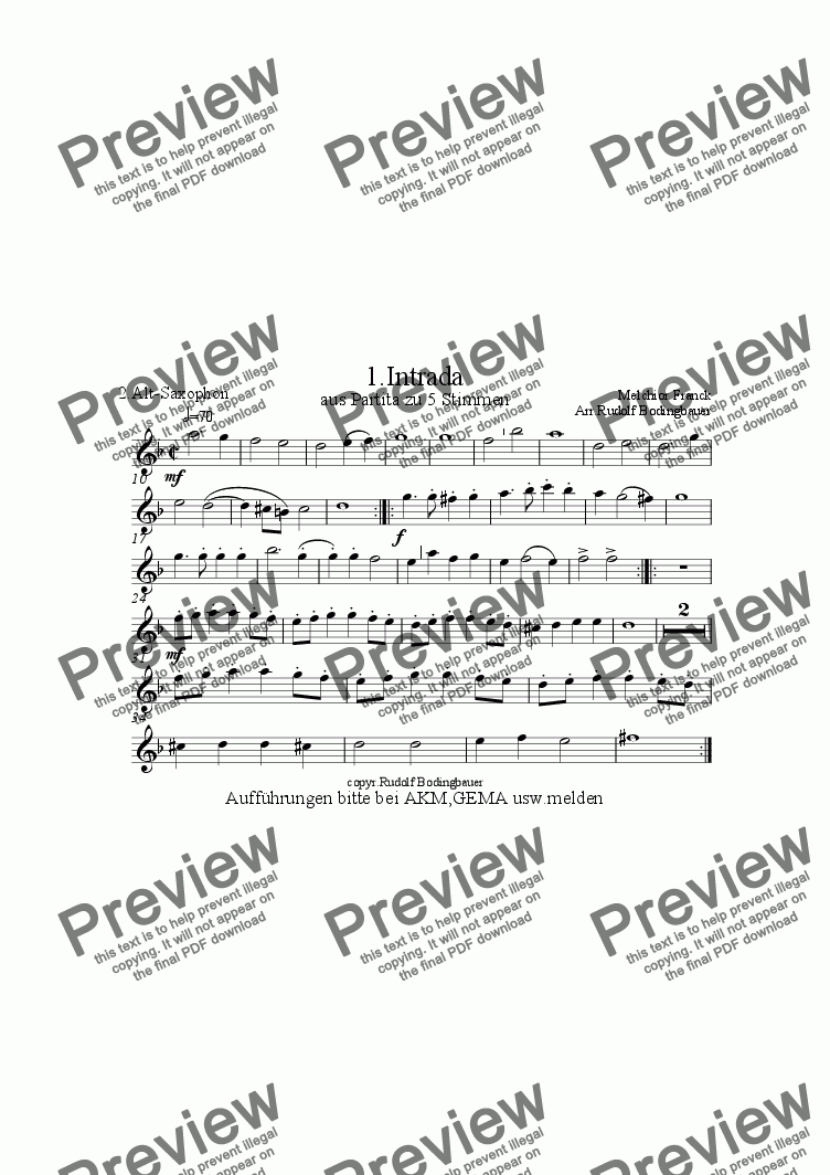page one of the 2. Altsaxophon part from 1.Intrada (Melchior Franck) Sax-Quintett