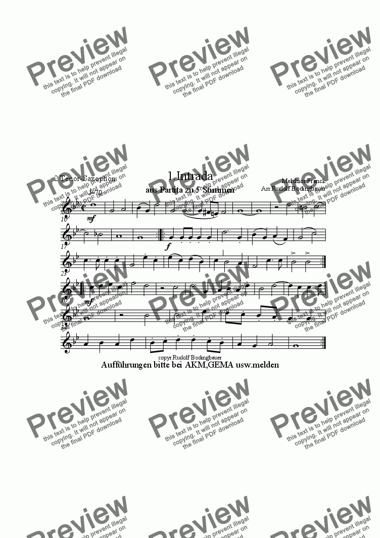 page one of the 2. Tenorsaxophon part from 1.Intrada (Melchior Franck) Sax-Quintett