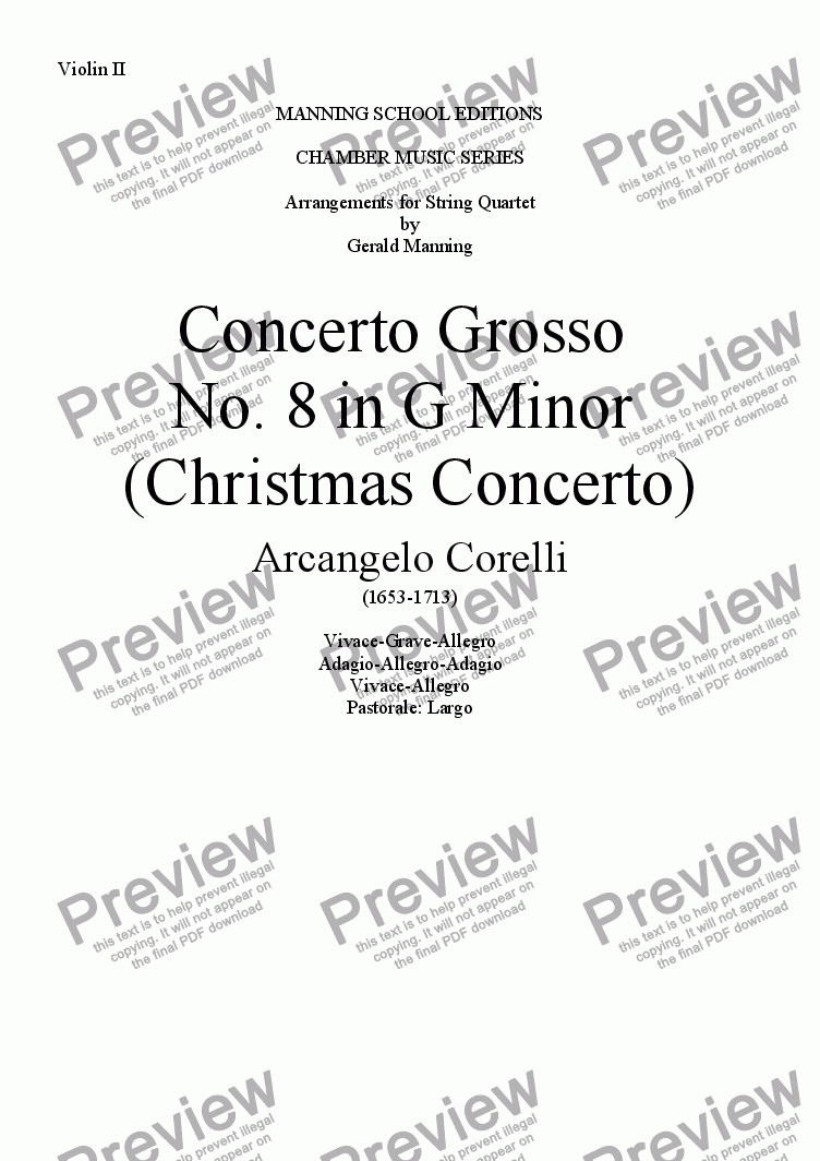 page one of the Violin II part from CORELLI, A. - Concerto Grosso No. 8 in G Minor (Christmas Concerto) - arr. for String Quartet by Gerald Manning
