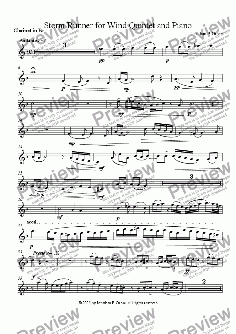 page one of the Clarinet part from Storm Runner for Wind Quintet and Piano