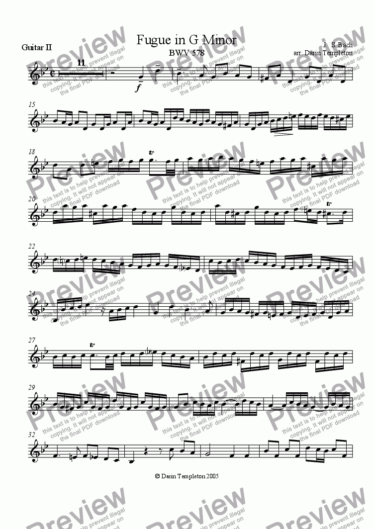 page one of the Guitar 2 part from Bach- Fugue in G Minor BWV 578 (arr. mandolin, 3 guitars)