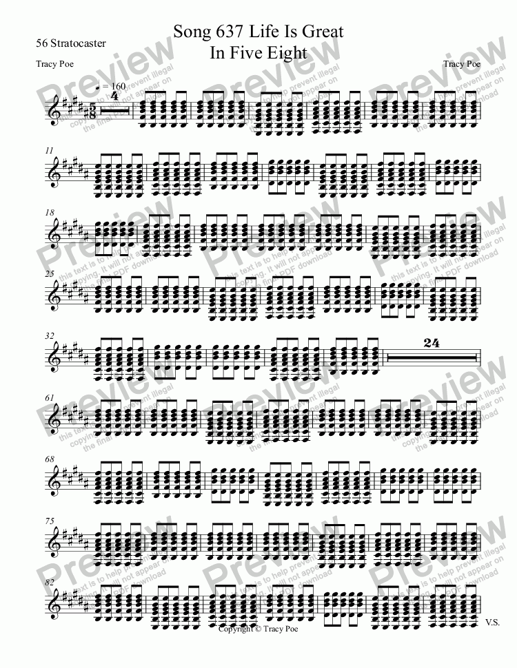 page one of the 56 Stratocaster part from Song 637 Life Is Great In Five Eight