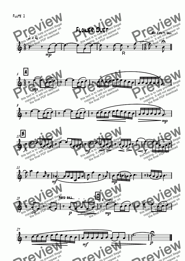 page one of the Flute 2 part from Flower Duet (flute Duet)