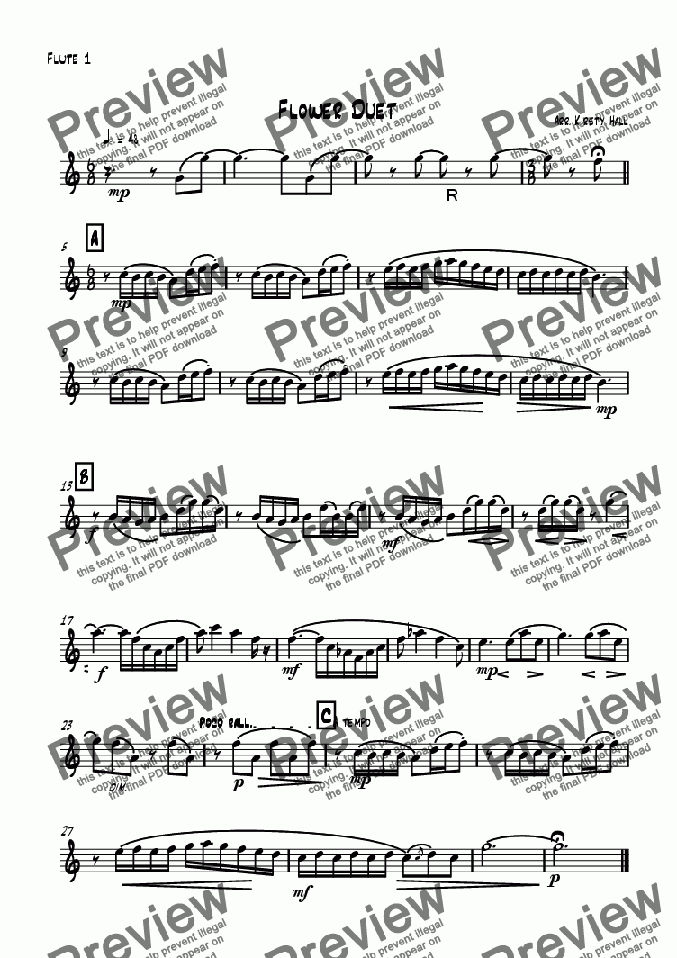 page one of the Flute 1 part from Flower Duet (flute Duet)