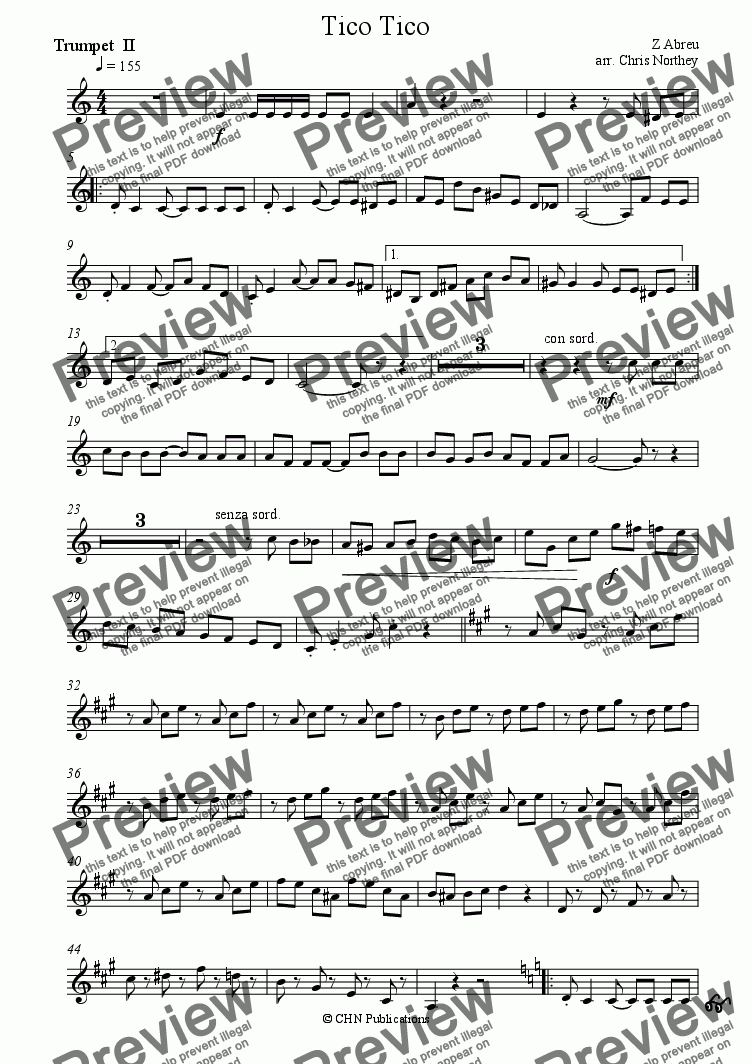 page one of the Trumpet II part from tico tico