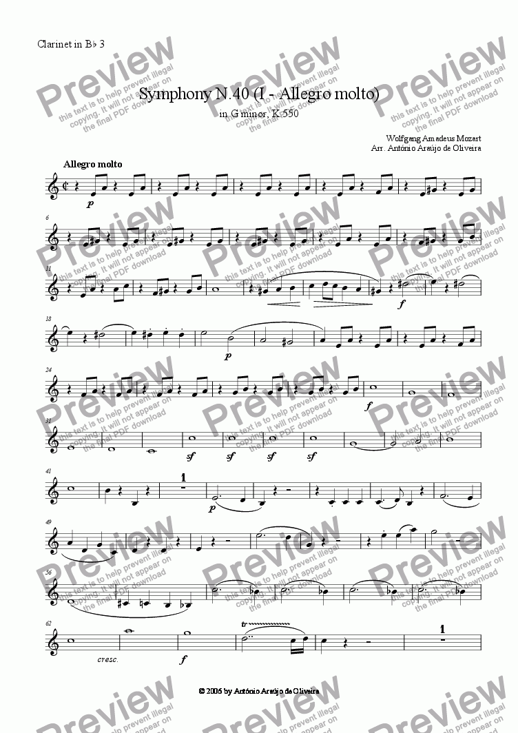 page one of the Clarinet in Bb 3 part from Symphony N.40 (I - Allegro molto)