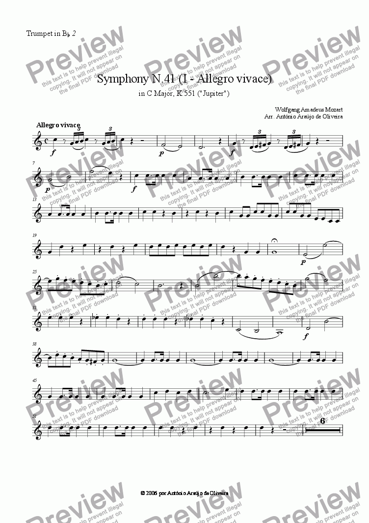 page one of the Trumpet in Bb 2 part from Symphony N.41 (I - Allegro vivace)
