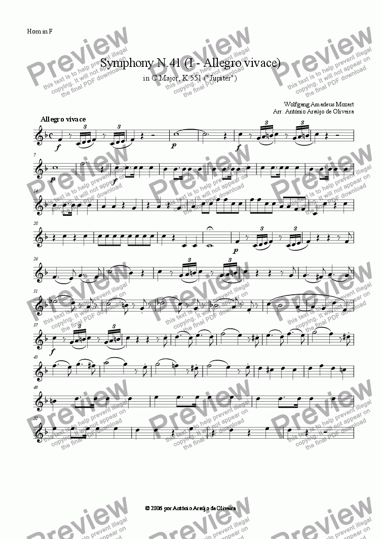 page one of the Horn in F part from Symphony N.41 (I - Allegro vivace)