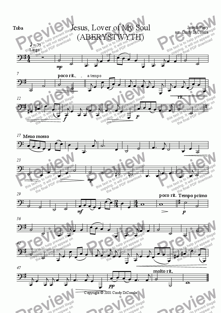 page one of the Tuba part from Jesus, Lover of My Soul - Brass Sextet