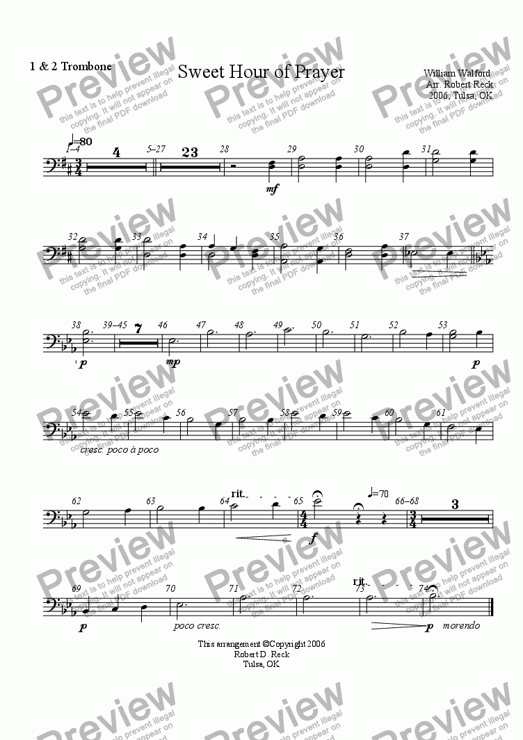 page one of the Trombon (Euphonium) 1 & 2 part from Sweet Hour of Prayer
