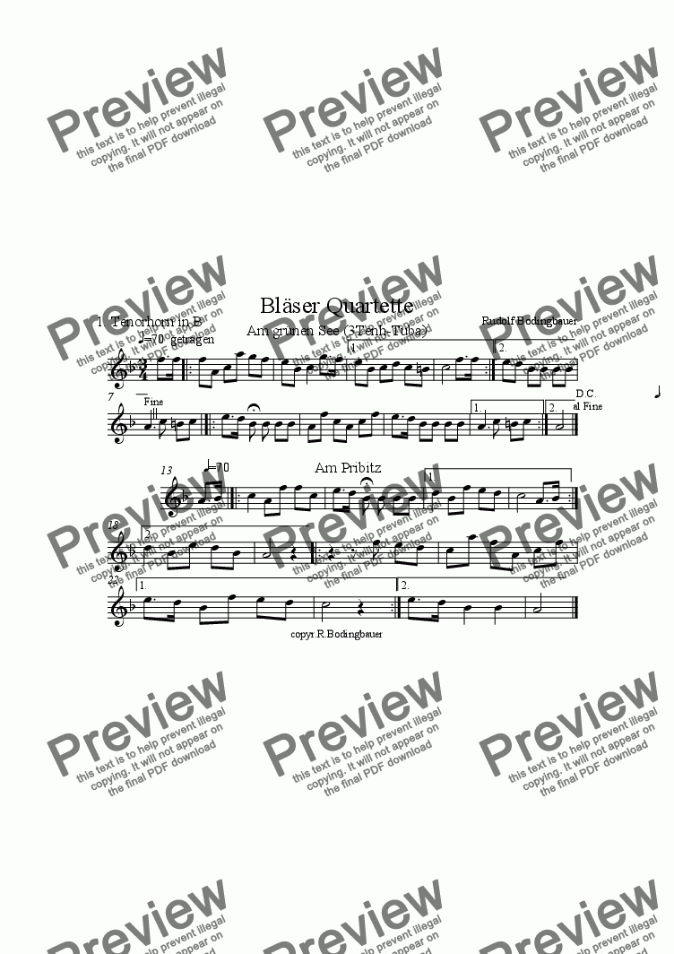 page one of the 1.Tenorhorn part from Am gr�nen See/Am Pribitz 3 Ten�re-Tuba