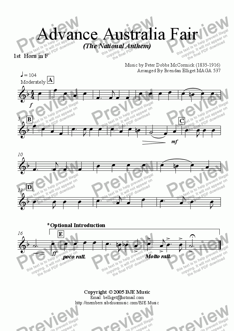 page one of the F Horn 1 part from Advance Australia Fair (The National Anthem) - Concert Band with optional strings