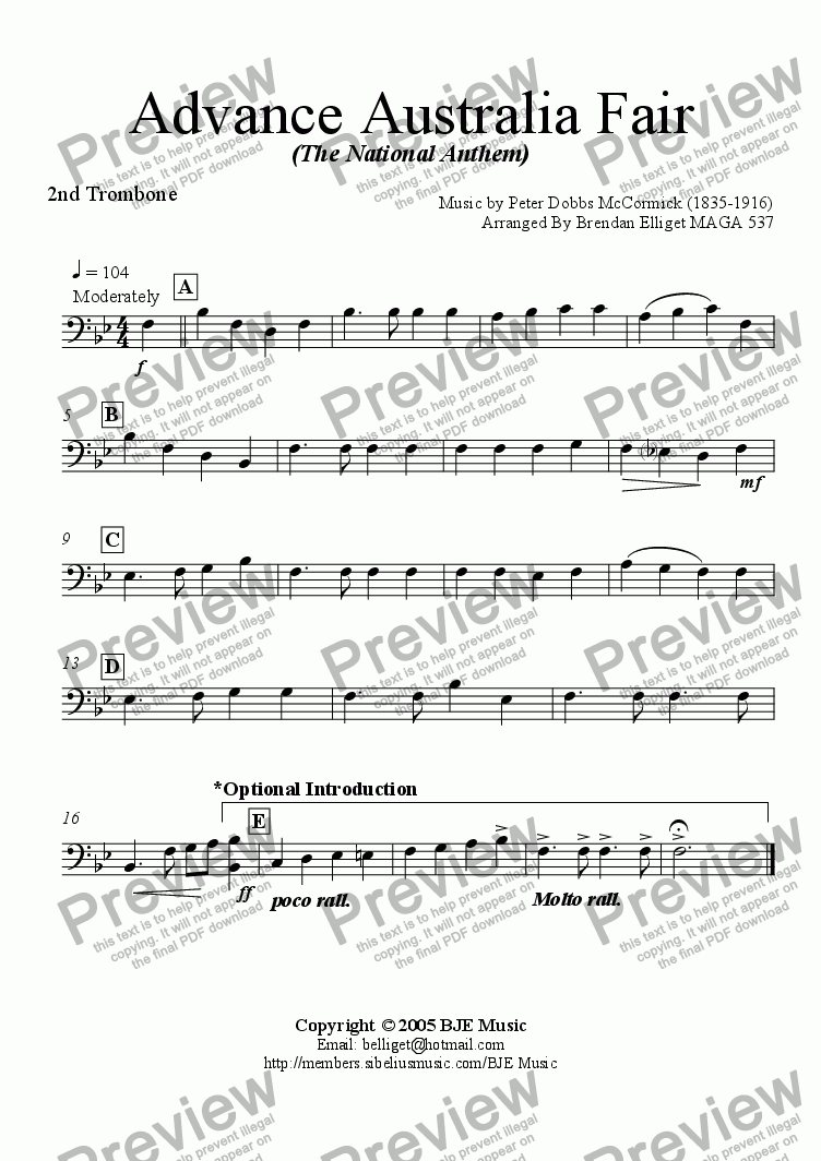 page one of the Trombone 2 part from Advance Australia Fair (The National Anthem) - Concert Band with optional strings