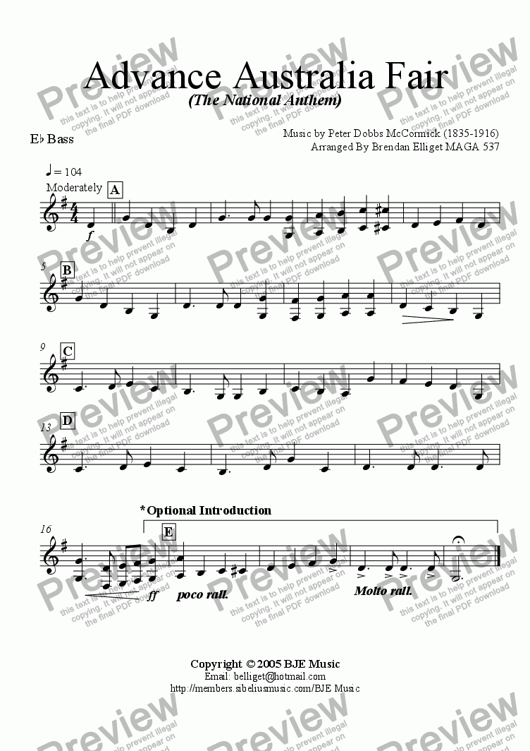 page one of the Eb Bass part from Advance Australia Fair (The National Anthem) - Concert Band with optional strings