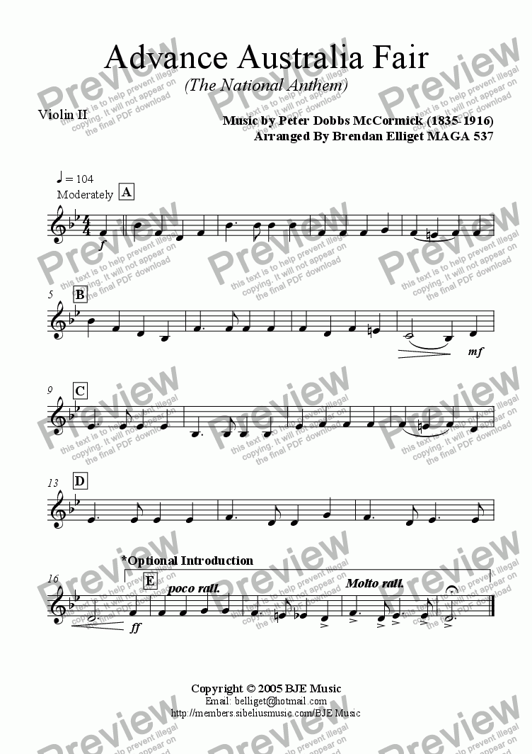page one of the Violin II part from Advance Australia Fair (The National Anthem) - Concert Band with optional strings