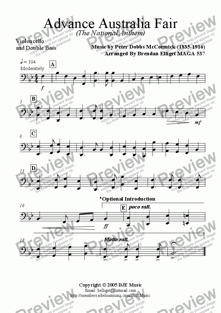 page one of the Cello and Double Bass part from Advance Australia Fair (The National Anthem) - Concert Band with optional strings