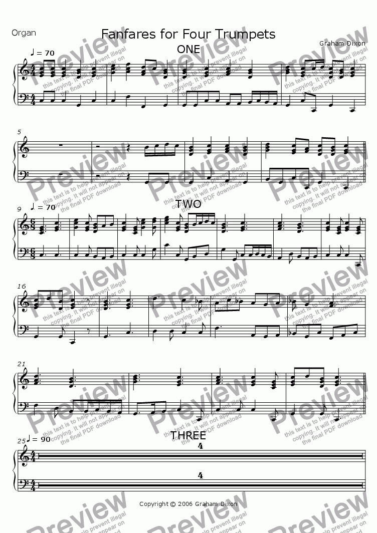 page one of the Organ part from Fanfares for Four Trumpets