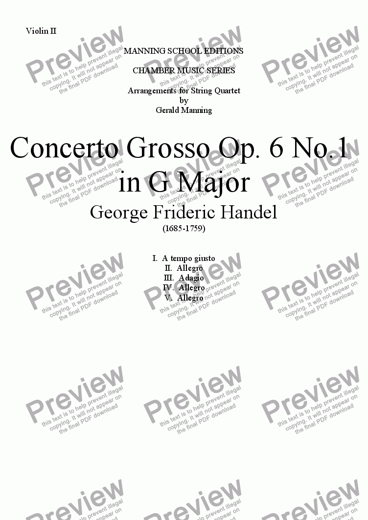 page one of the Violin II part from HANDEL, G.F. - Concerto Grosso Op.6, No.1 in G Major - arr. for String Quartet by Gerald Manning