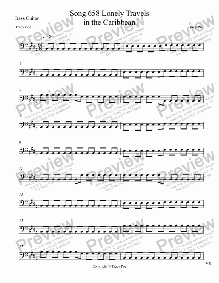 page one of the Bass Guitar part from Song 658 Lonely Travels in the Caribbean