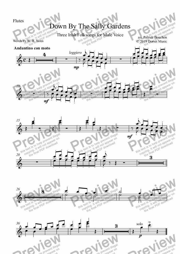 page one of the Flutes part from Down By The Sally Gardens for Male Voice and Orchestra