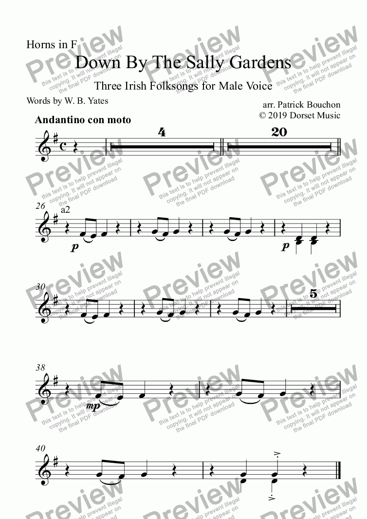 page one of the Horns in F part from Down By The Sally Gardens for Male Voice and Orchestra