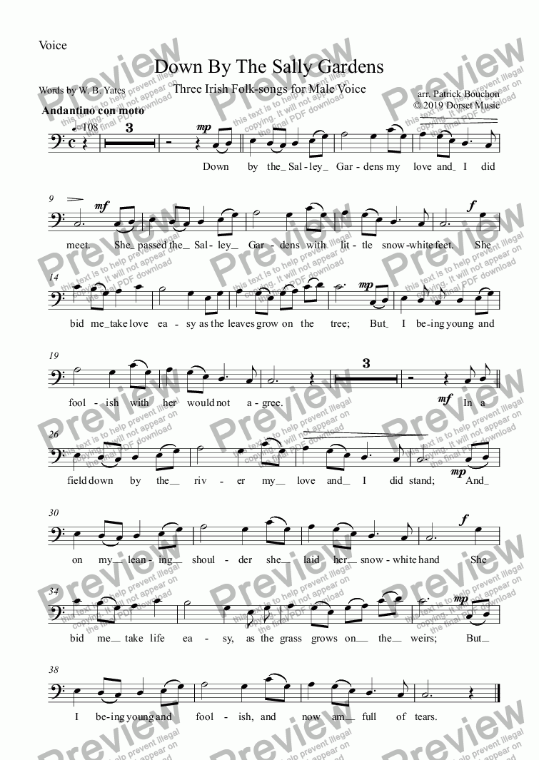 page one of the Voice part from Down By The Sally Gardens for Male Voice and Orchestra