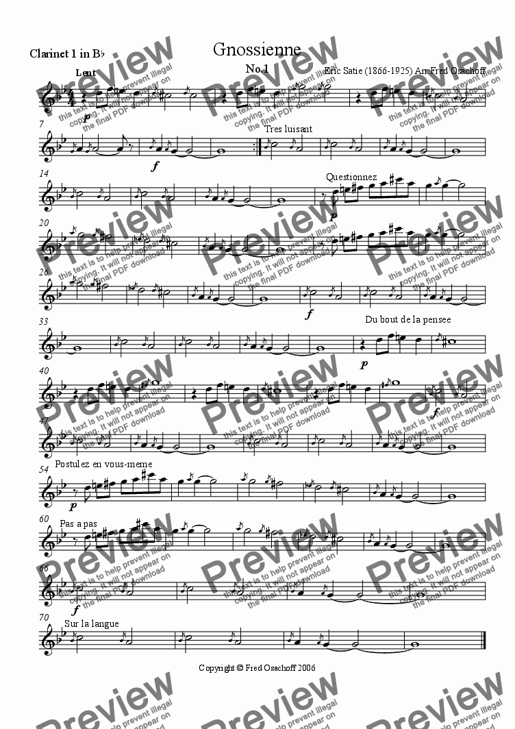 page one of the Clarinet 1 part from Gnossienne No.1