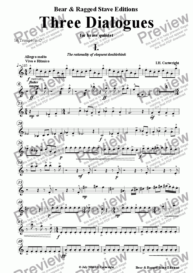 page one of the 1st trumpet in C part from Three dialogues for Brass quintet 1st Movement