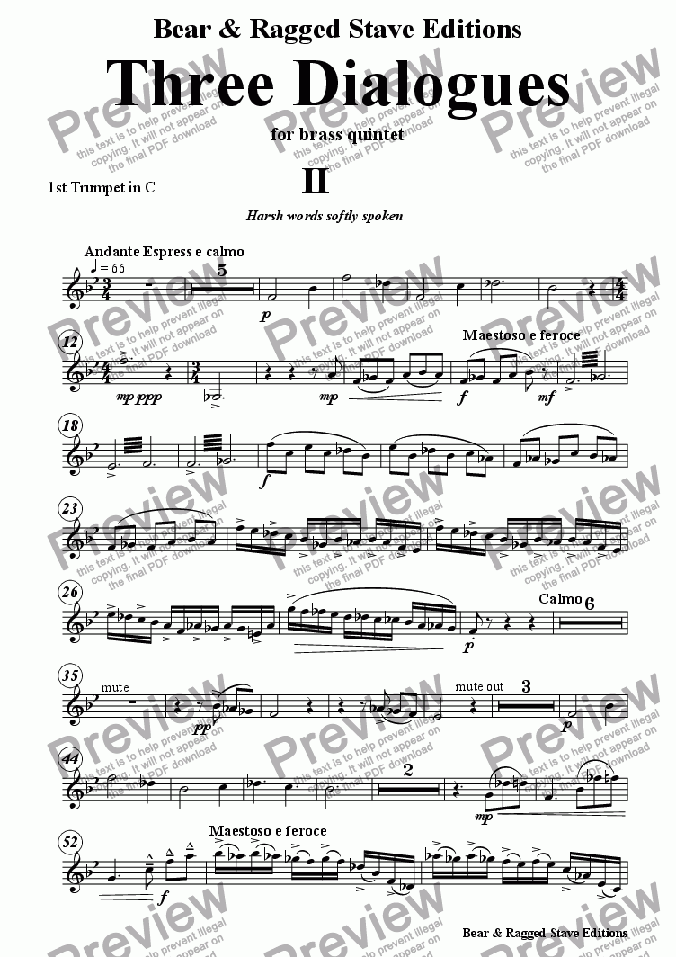 page one of the 1st trumpet C part from Three Dialogues for brass quintet 2nd Movement
