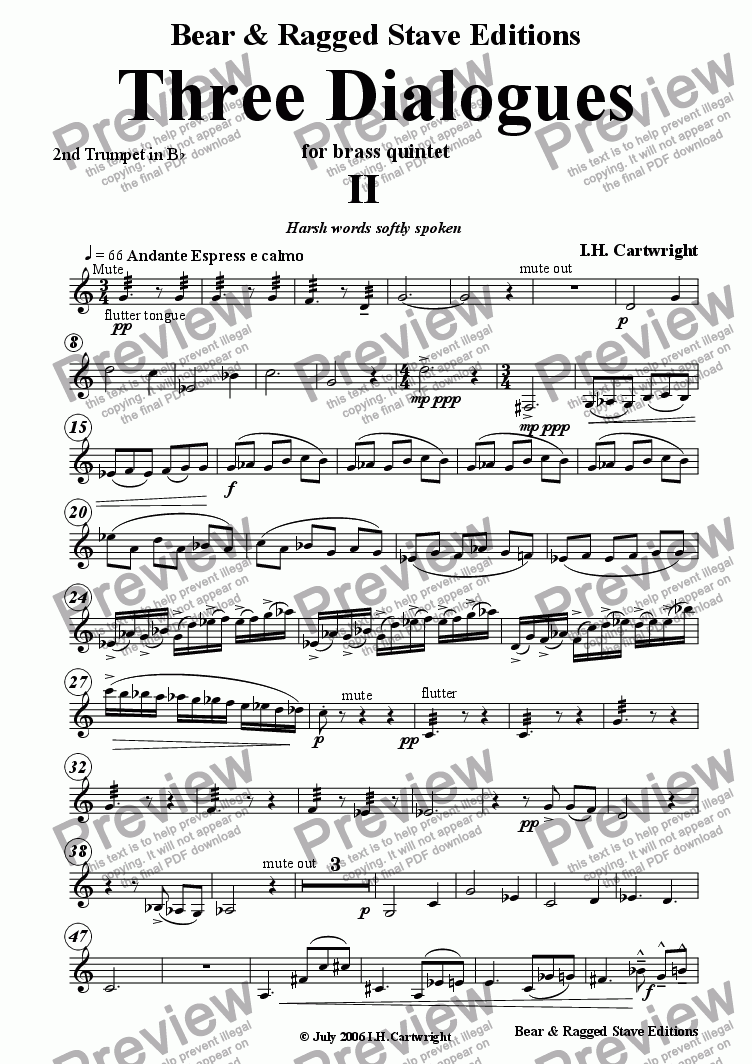 page one of the 2nd trumpet Bb part from Three Dialogues for brass quintet 2nd Movement