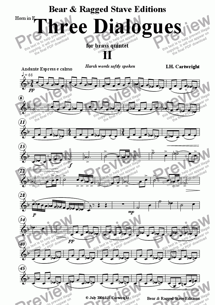 page one of the Horn in F part from Three Dialogues for brass quintet 2nd Movement
