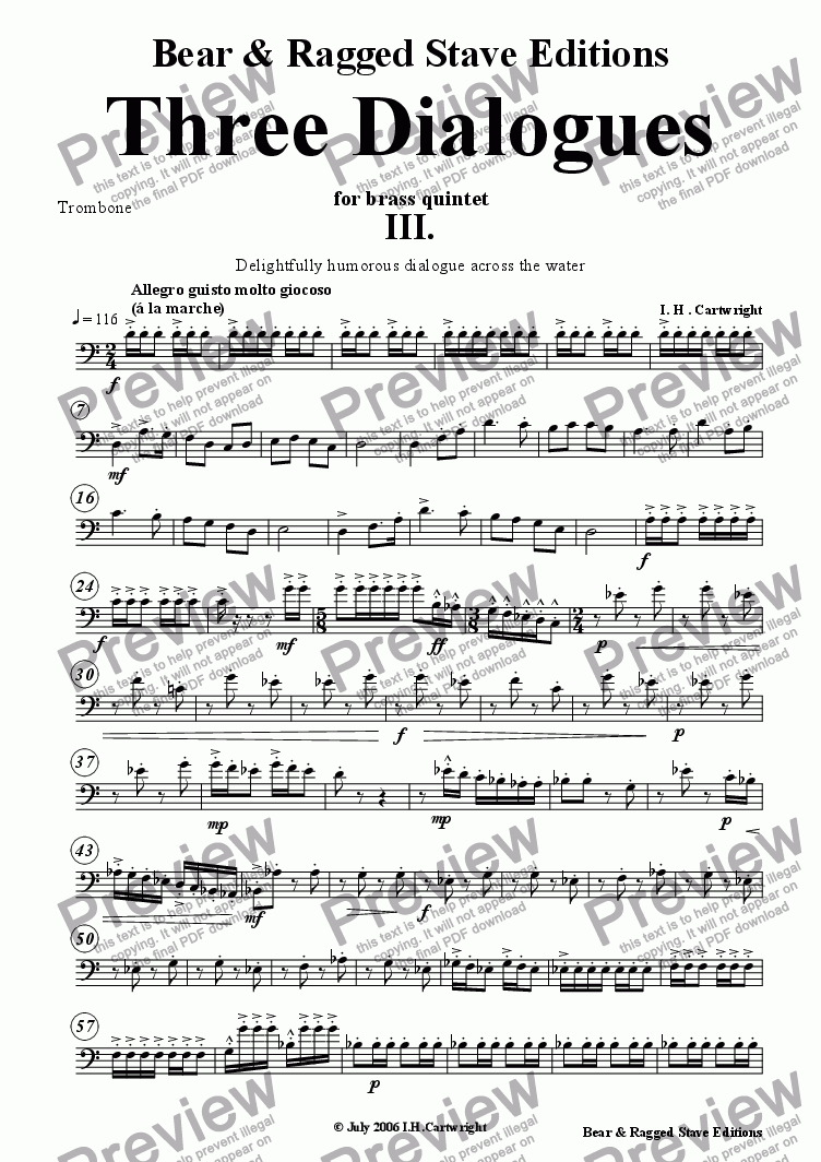 page one of the Trombone part from Three dialogues for brass quintet 3rd Movement